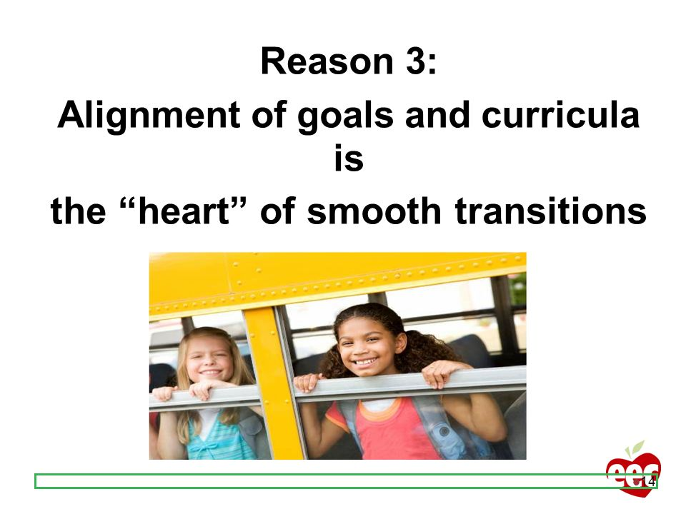 Alignment of goals and curricula is the heart of smooth transitions