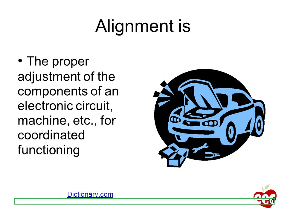 Alignment is• The proper adjustment of the components of an electronic circuit, machine, etc., for coordinated functioning.