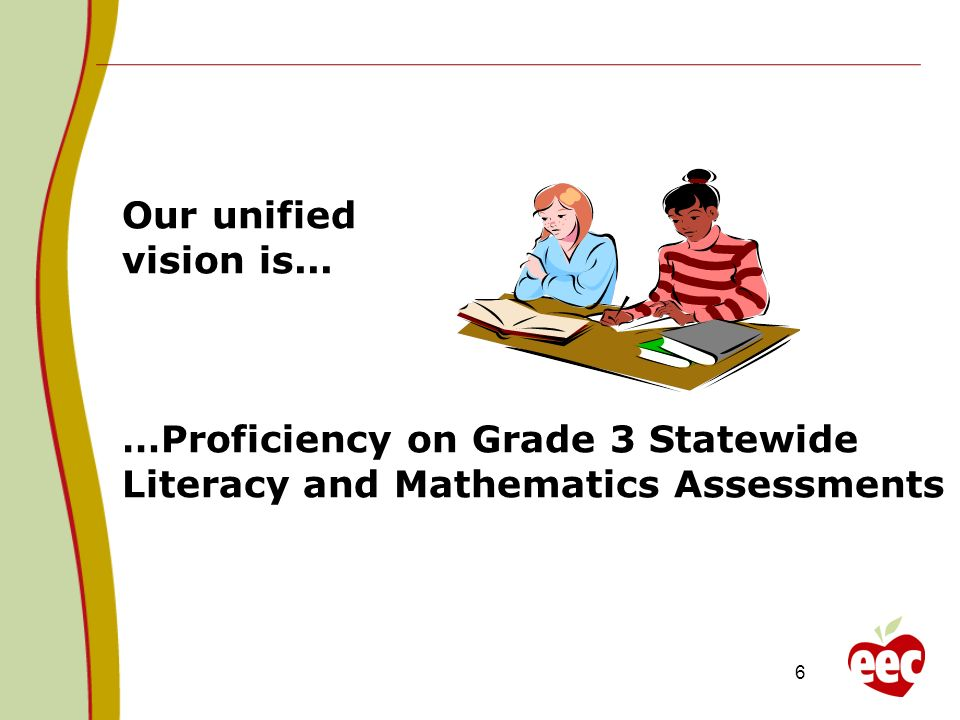 Our unified vision is... …Proficiency on Grade 3 Statewide Literacy and Mathematics Assessments