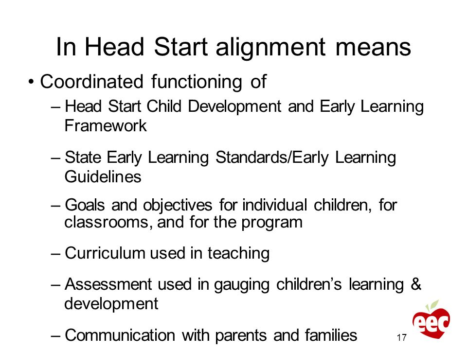 In Head Start alignment means