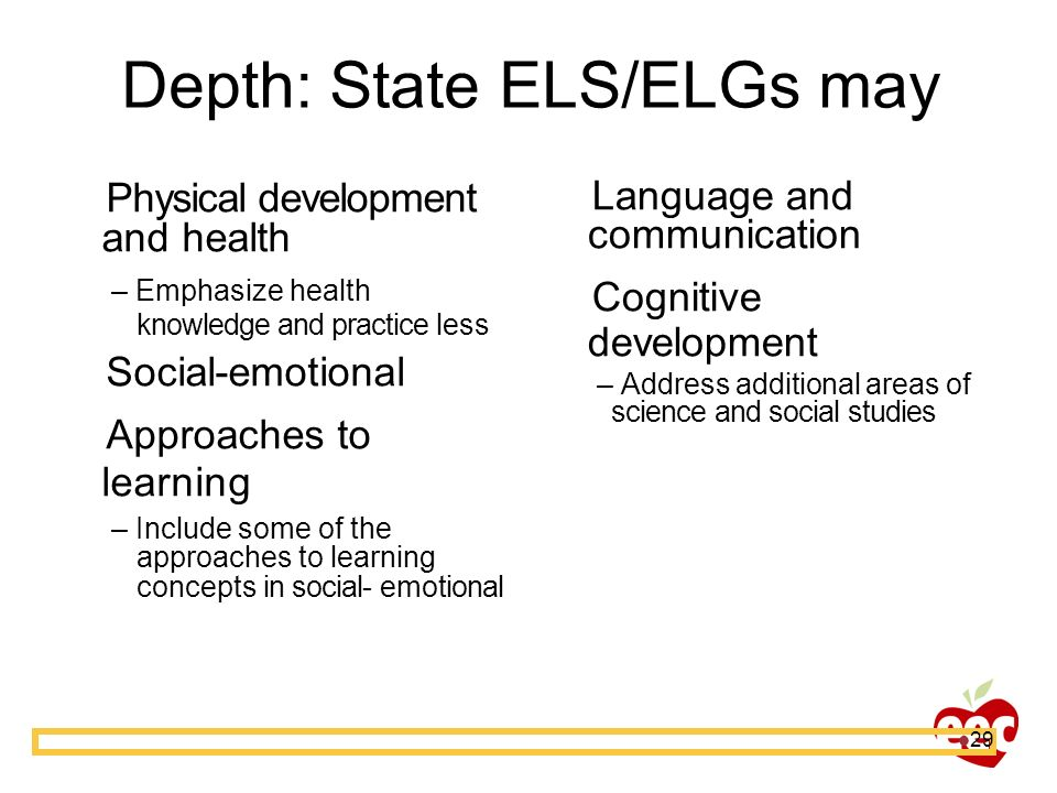 Depth: State ELS/ELGs may
