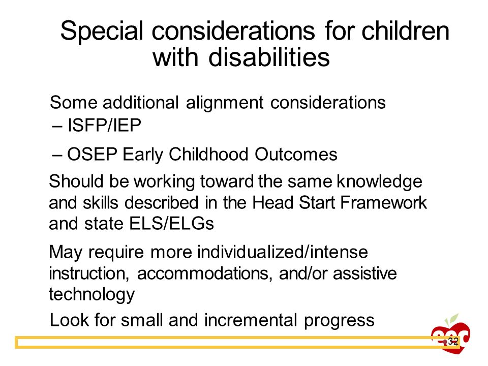 Special considerations for children with disabilities