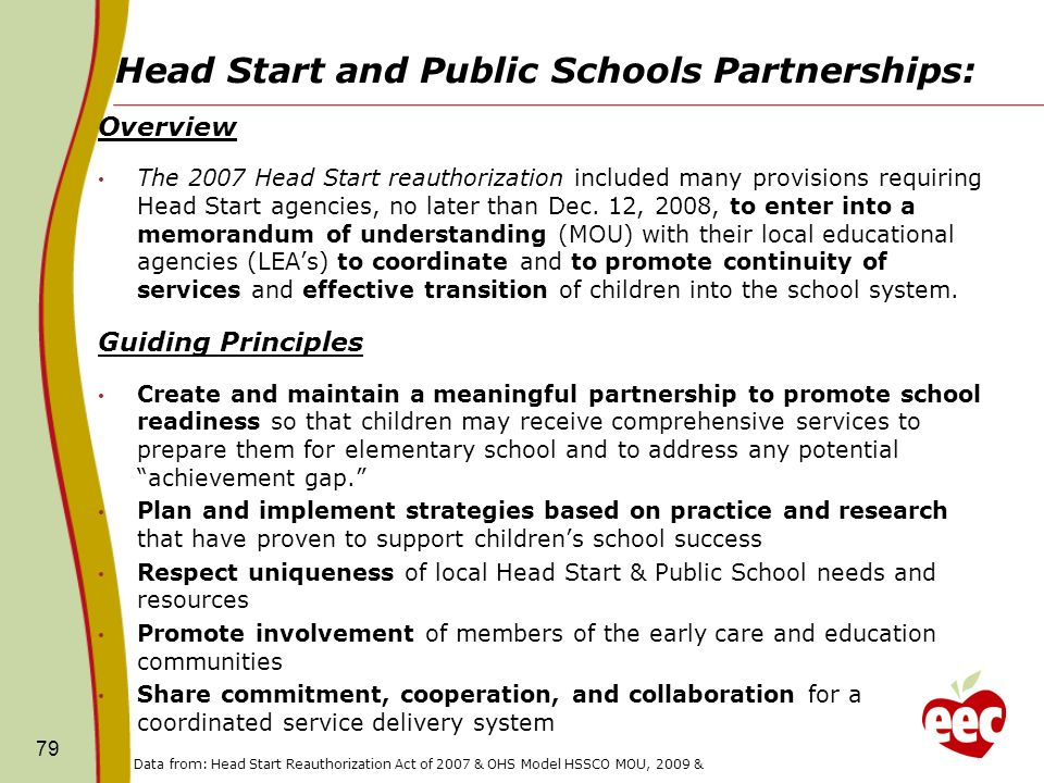 Head Start and Public Schools Partnerships: