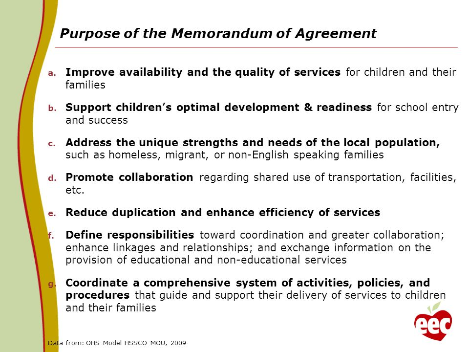 Purpose of the Memorandum of Agreement