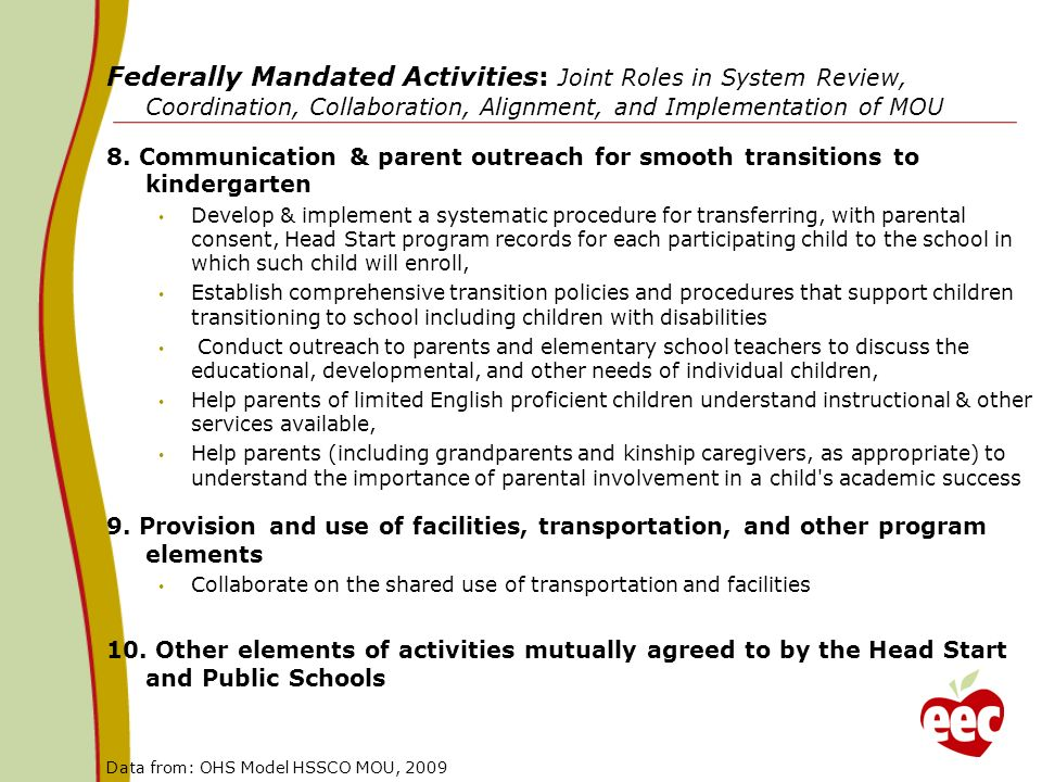 Federally Mandated Activities: Joint Roles in System Review, Coordination, Collaboration, Alignment, and Implementation of MOU