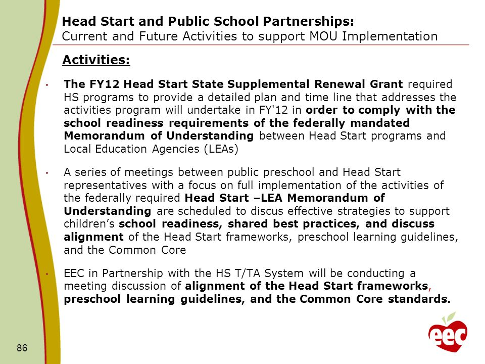 Head Start and Public School Partnerships: Current and Future Activities to support MOU Implementation