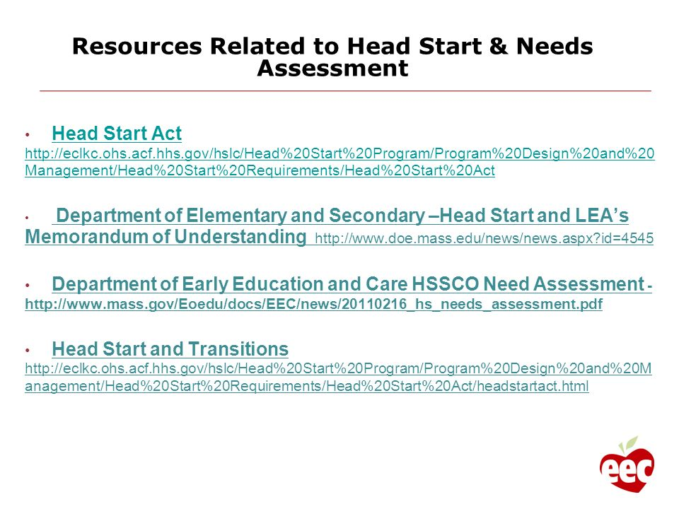 Resources Related to Head Start & Needs Assessment