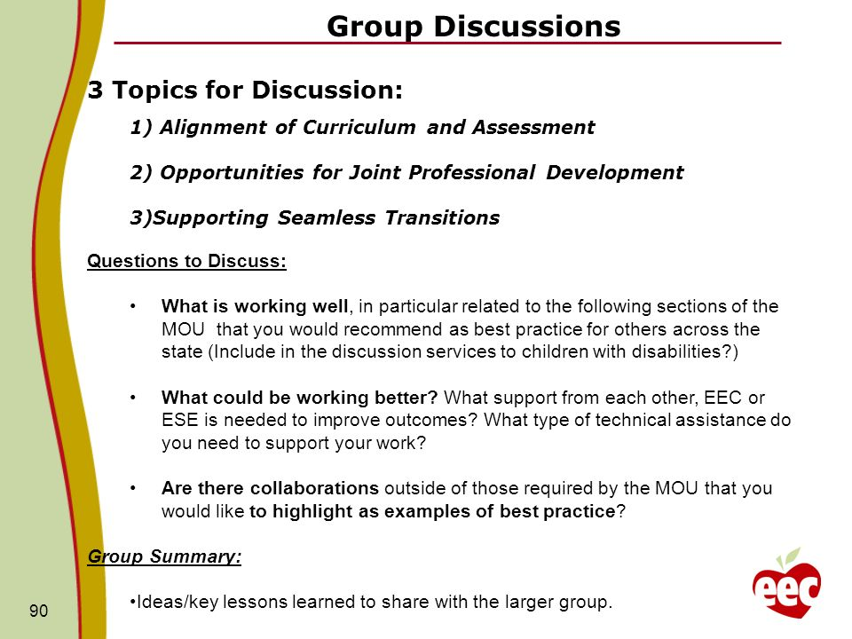 Group Discussions 3 Topics for Discussion: