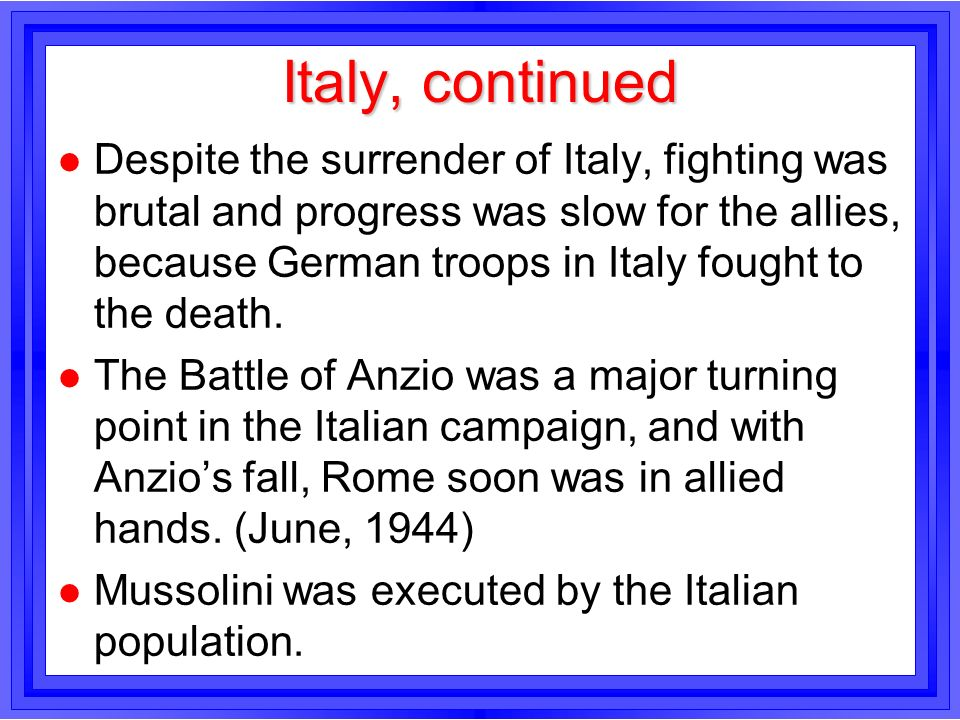 Italy, continued