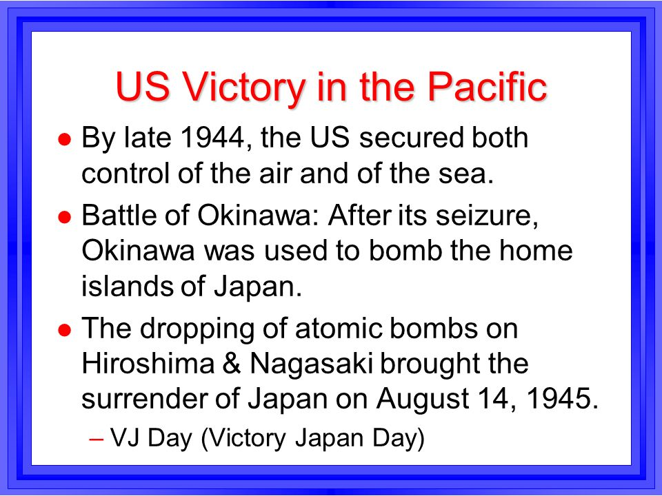 US Victory in the Pacific