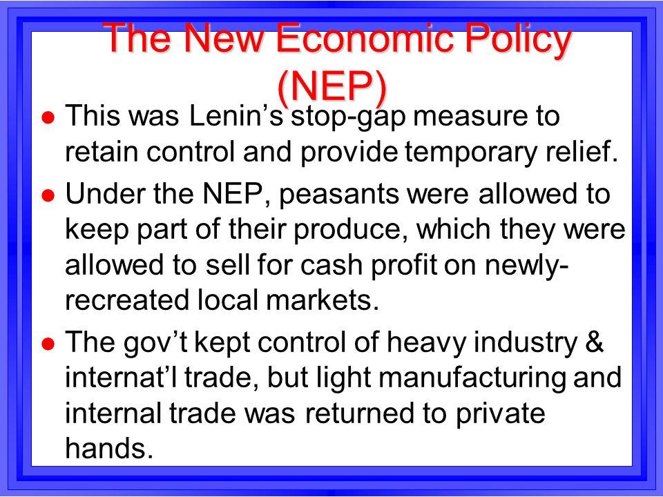 The New Economic Policy (NEP)