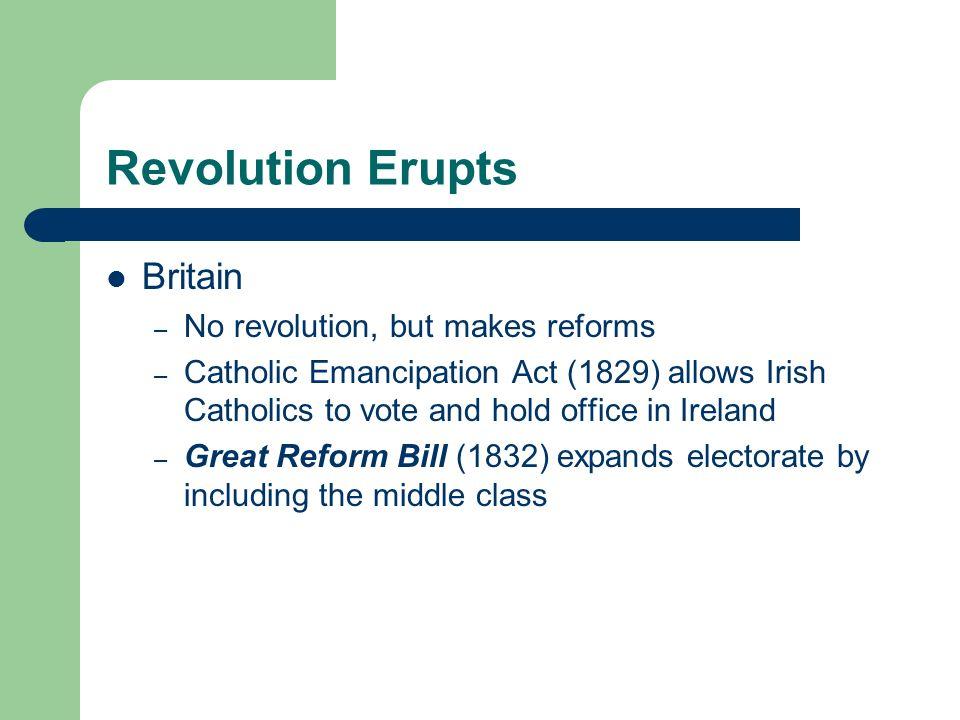 Revolution Erupts Britain No revolution, but makes reforms