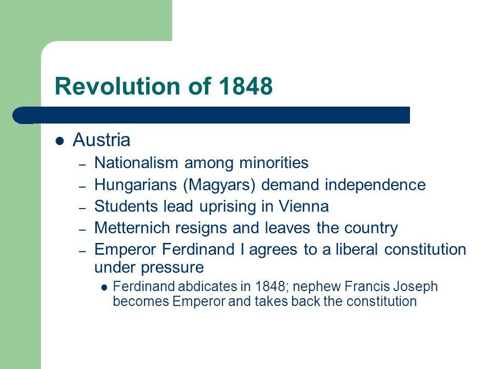 Revolution of 1848 Austria Nationalism among minorities