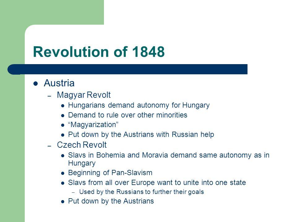 Revolution of 1848 Austria Magyar Revolt Czech Revolt