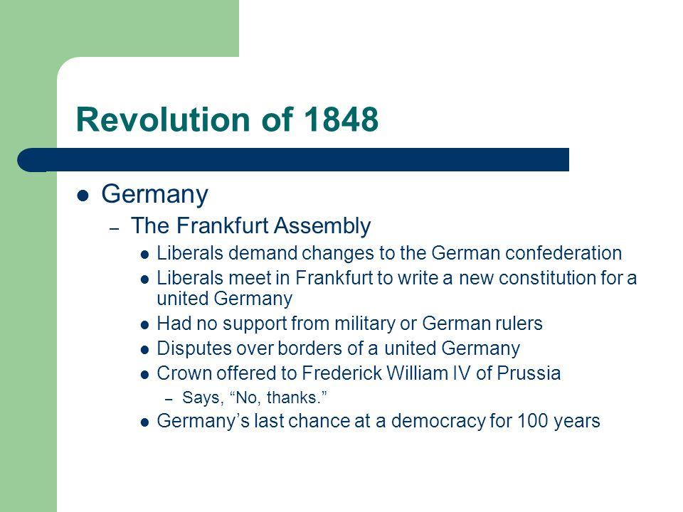 Revolution of 1848 Germany The Frankfurt Assembly