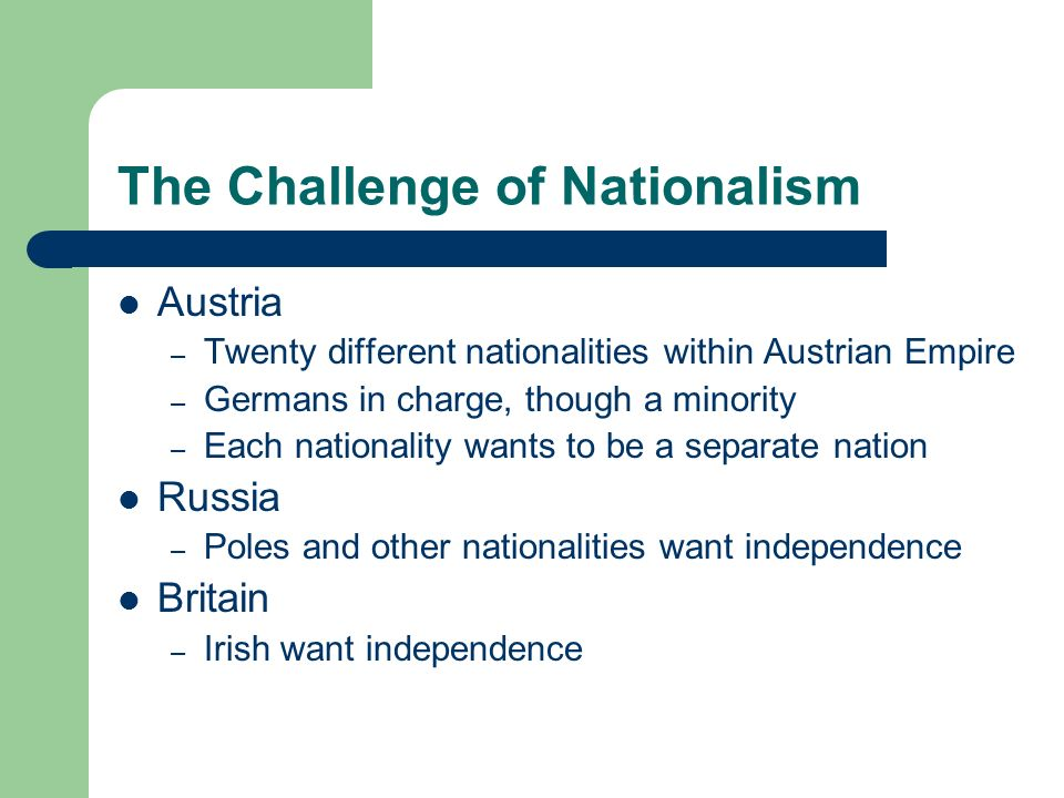 The Challenge of Nationalism
