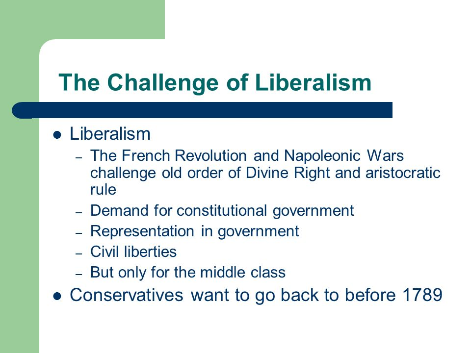 The Challenge of Liberalism