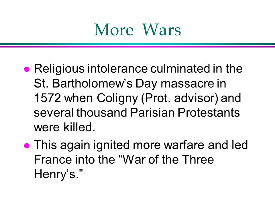 More Wars