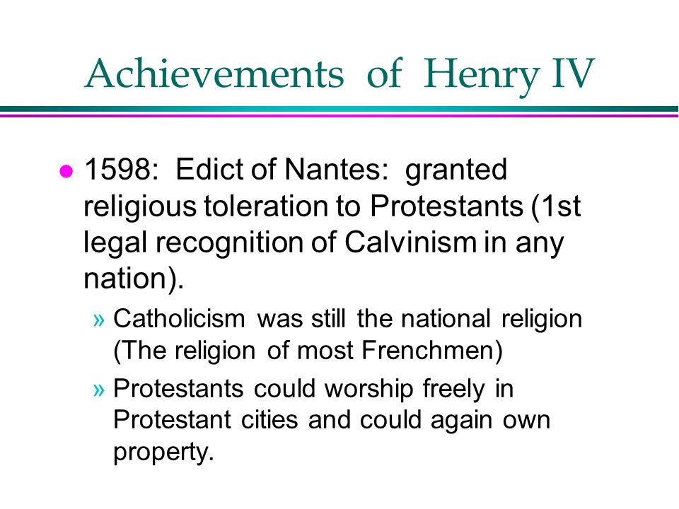 Achievements of Henry IV