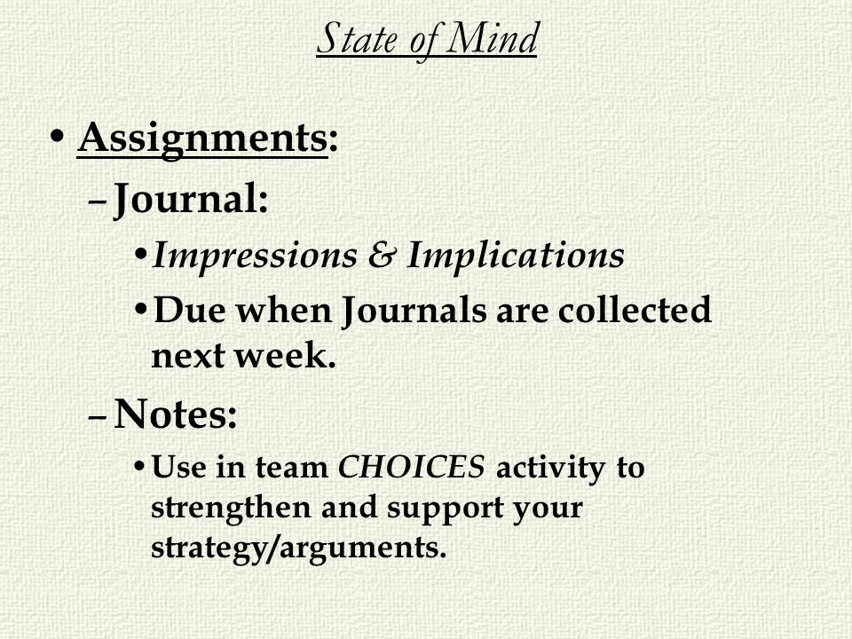 State of Mind Assignments: Journal: Notes: Impressions & Implications