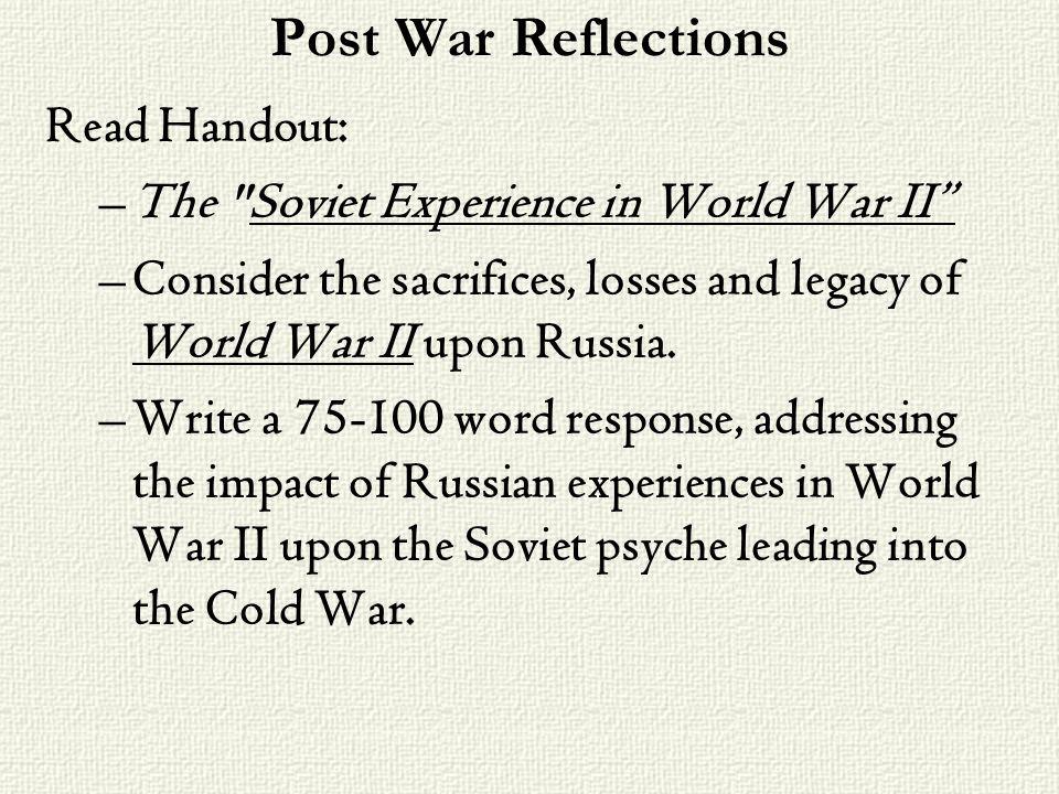 Post War Reflections Read Handout: