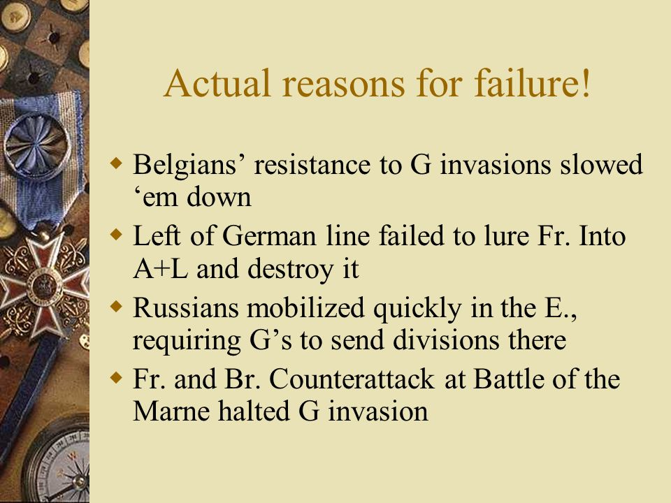 Actual reasons for failure!