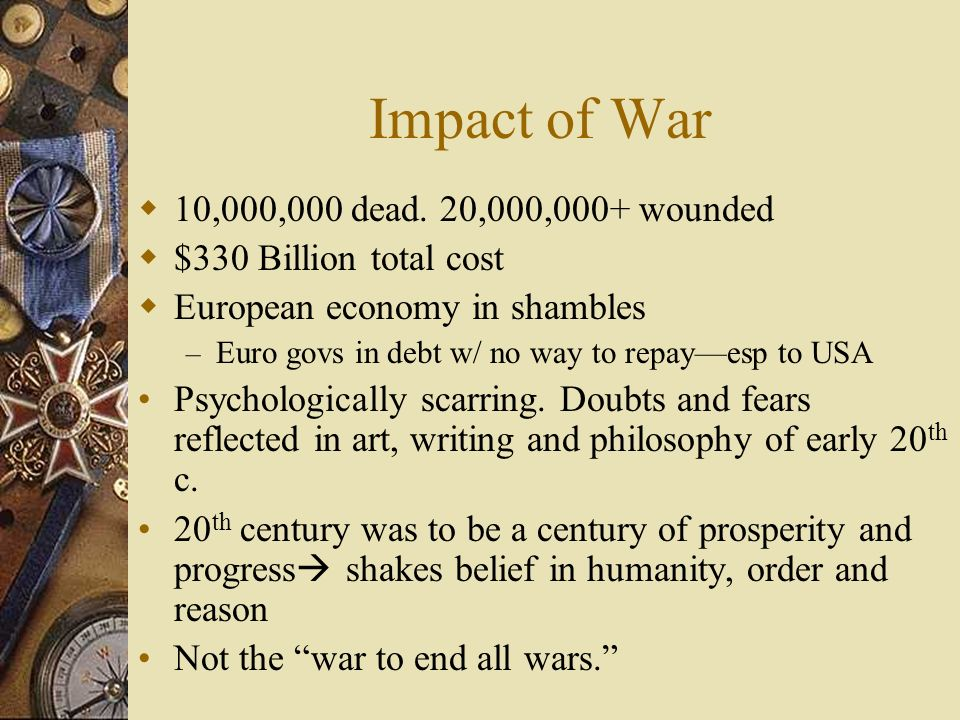 Impact of War 10,000,000 dead. 20,000,000+ wounded