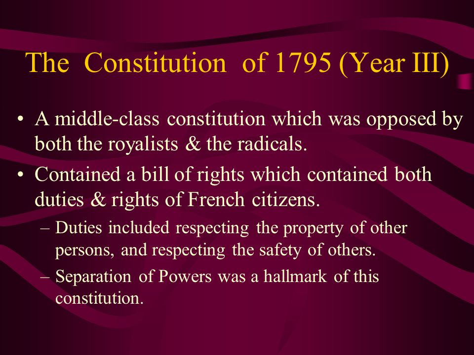 The Constitution of 1795 (Year III)