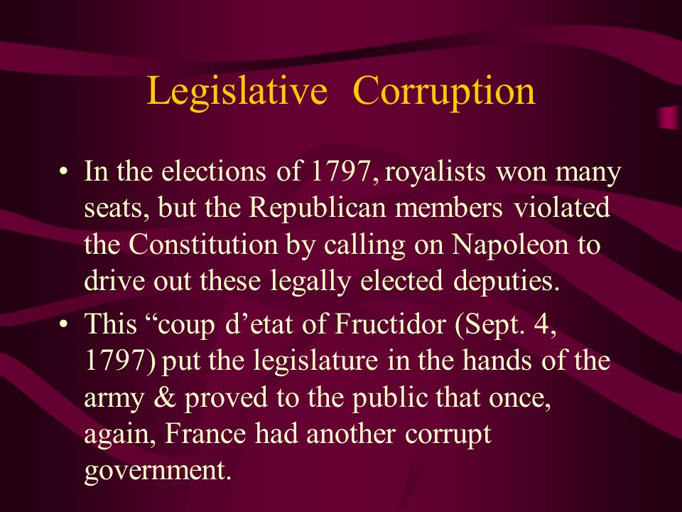 Legislative Corruption