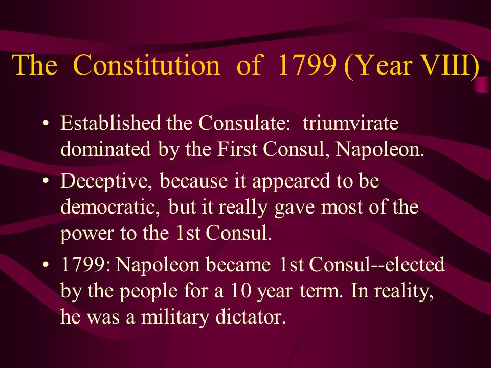 The Constitution of 1799 (Year VIII)