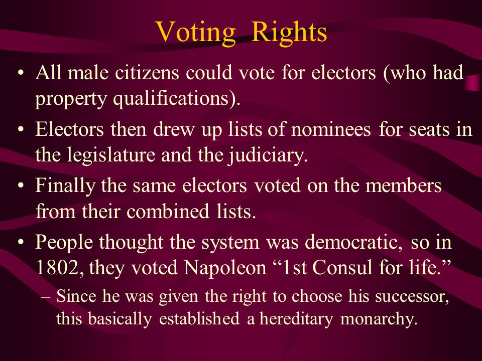 Voting Rights All male citizens could vote for electors (who had property qualifications).