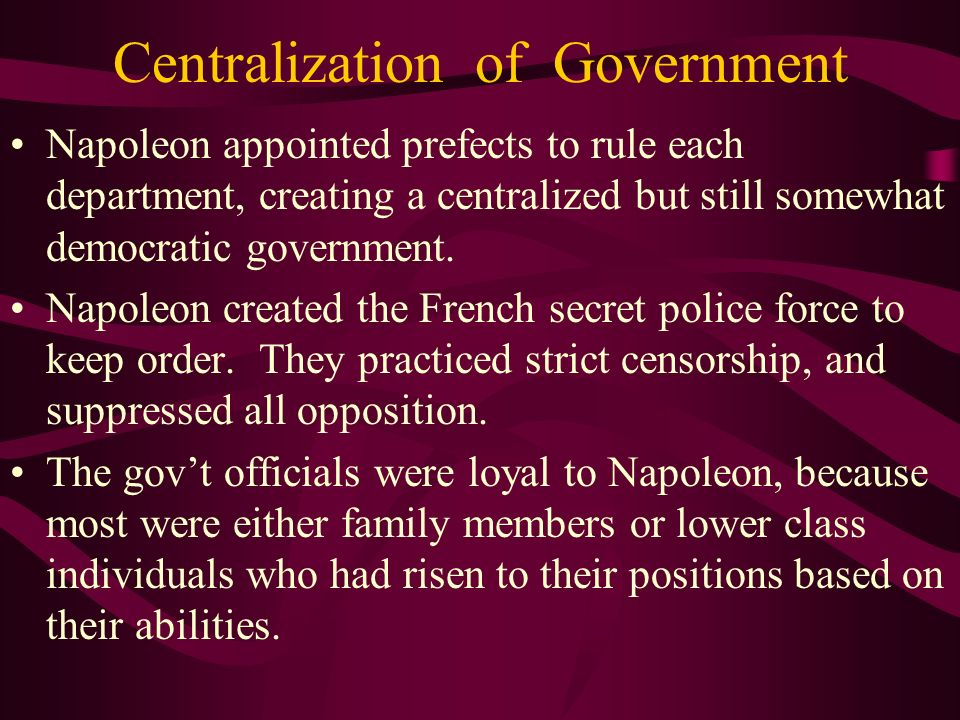 Centralization of Government