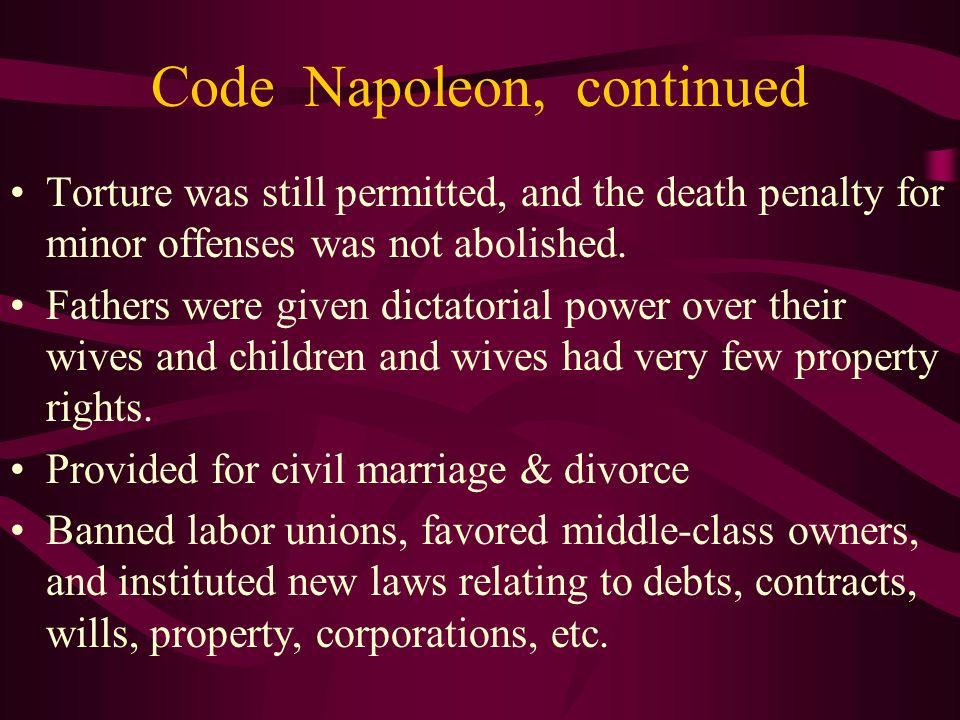 Code Napoleon, continued