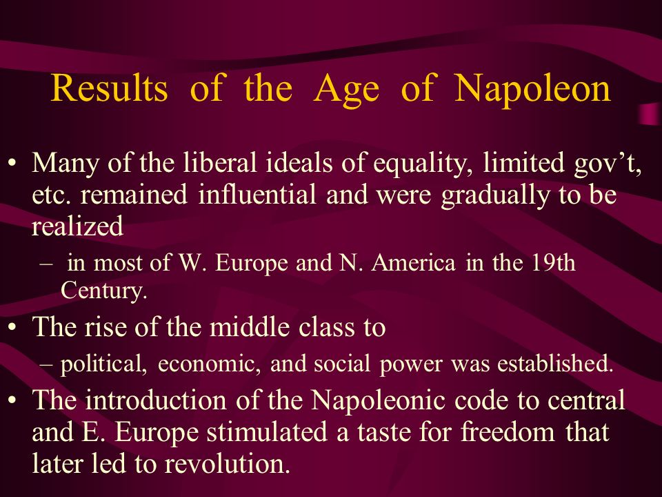 Results of the Age of Napoleon