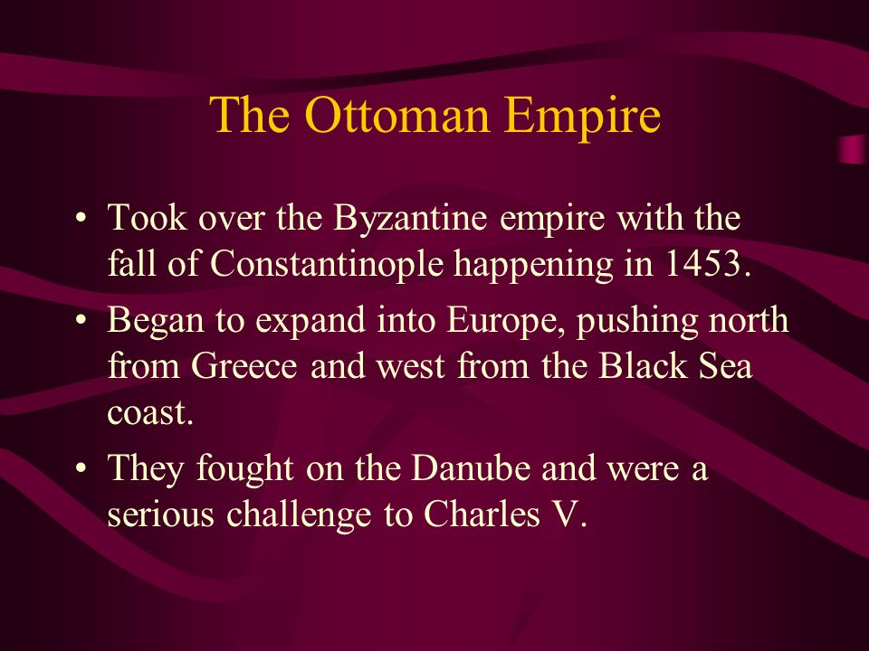 The Ottoman Empire Took over the Byzantine empire with the fall of Constantinople happening in