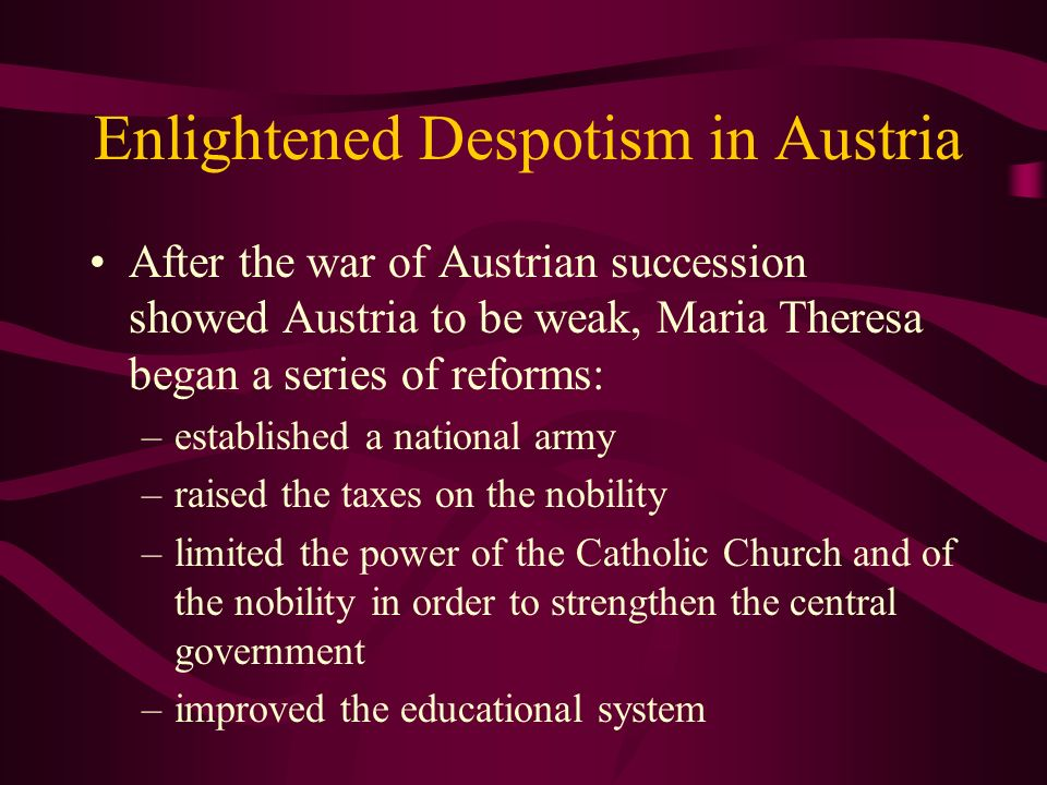 Enlightened Despotism in Austria