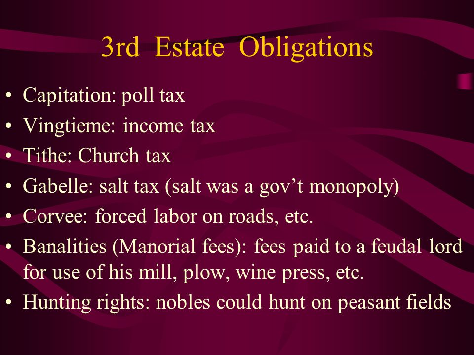 3rd Estate Obligations Capitation: poll tax Vingtieme: income tax