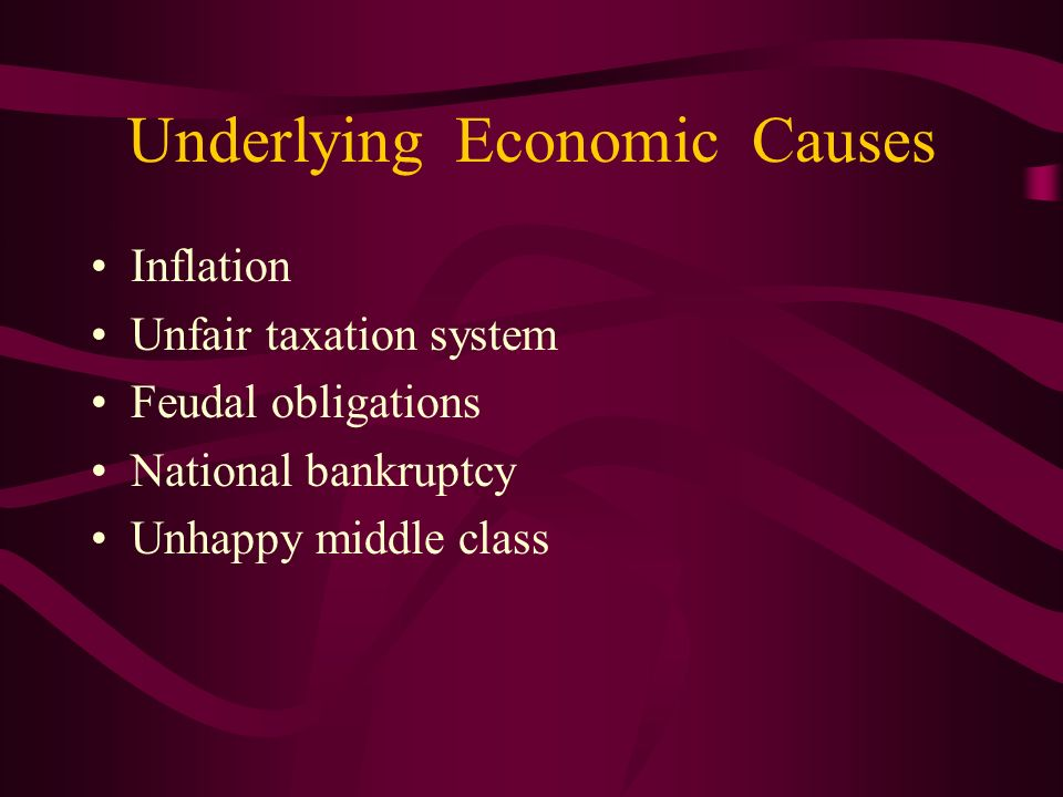 Underlying Economic Causes