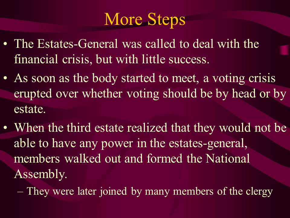 More Steps The Estates-General was called to deal with the financial crisis, but with little success.