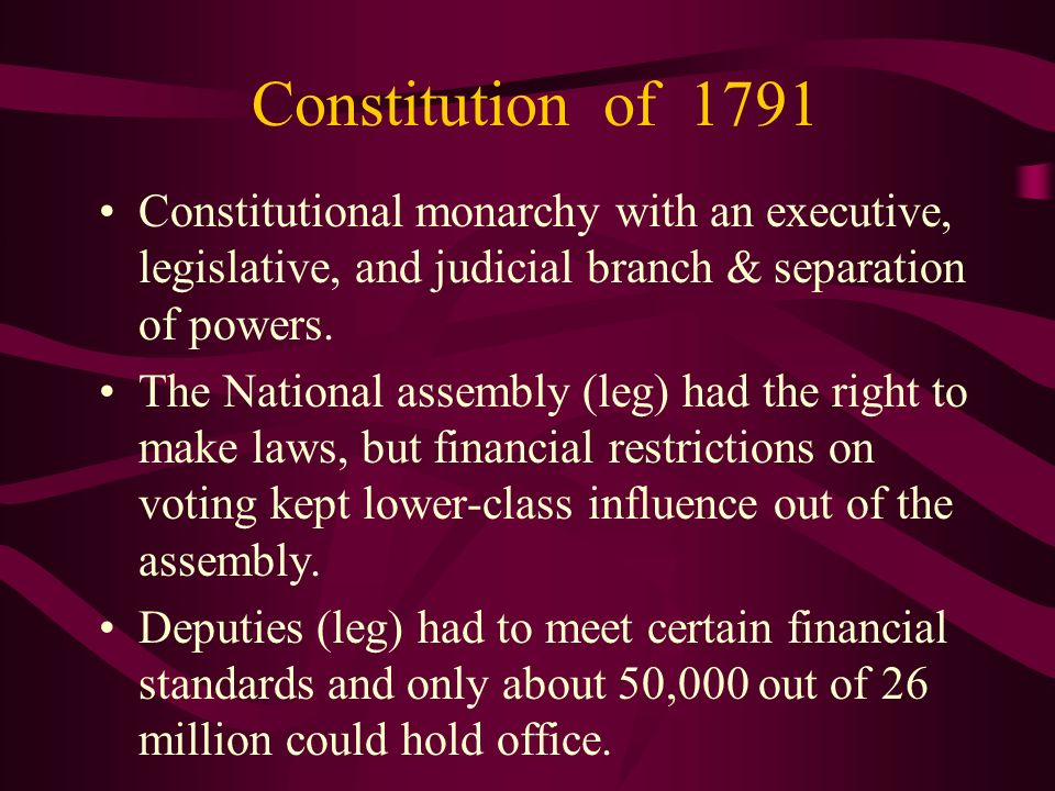 Constitution of 1791 Constitutional monarchy with an executive, legislative, and judicial branch & separation of powers.