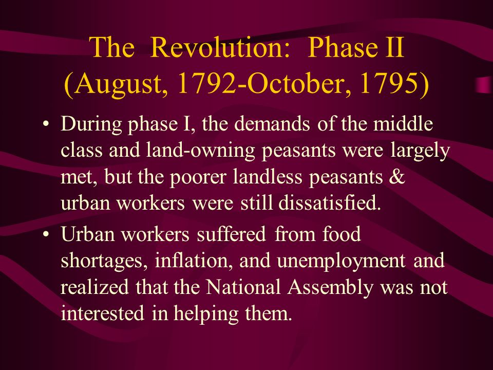 The Revolution: Phase II (August, 1792-October, 1795)