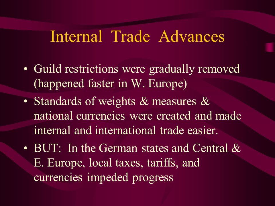 Internal Trade Advances