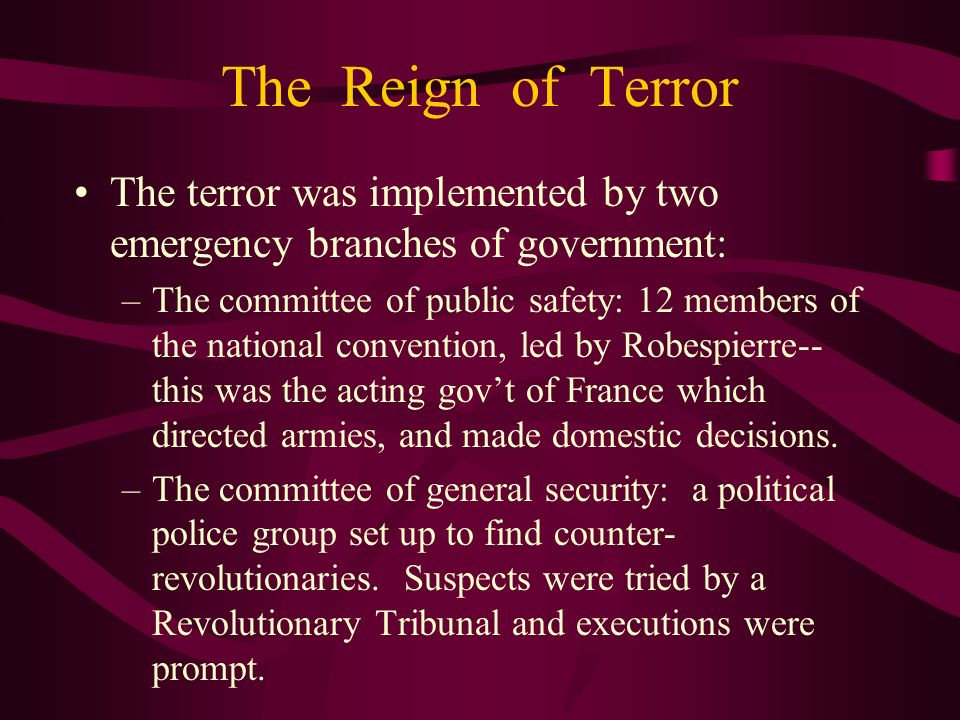 The Reign of Terror The terror was implemented by two emergency branches of government: