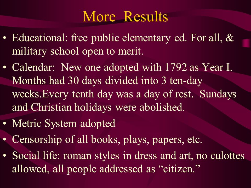 More Results Educational: free public elementary ed. For all, & military school open to merit.
