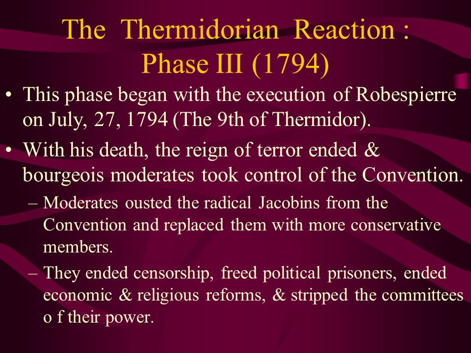 The Thermidorian Reaction : Phase III (1794)