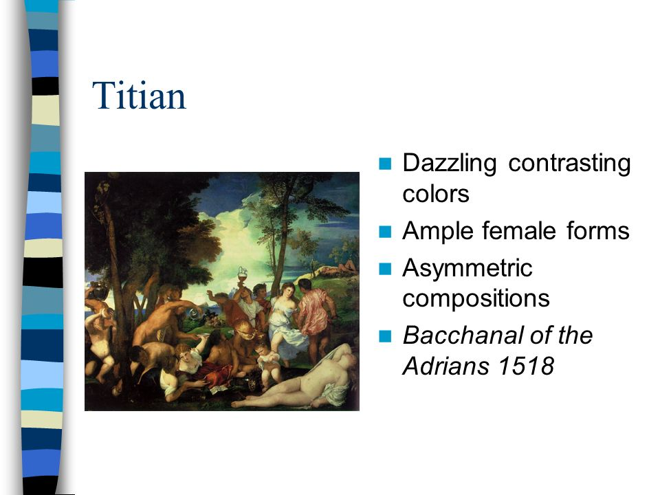Titian Dazzling contrasting colors Ample female forms