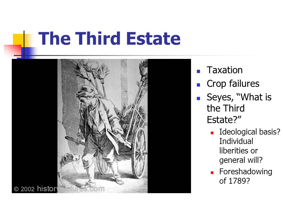 The Third Estate Taxation Crop failures