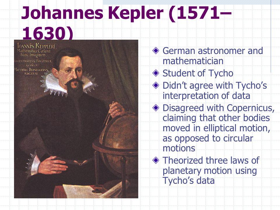 Johannes Kepler (1571–1630) German astronomer and mathematician