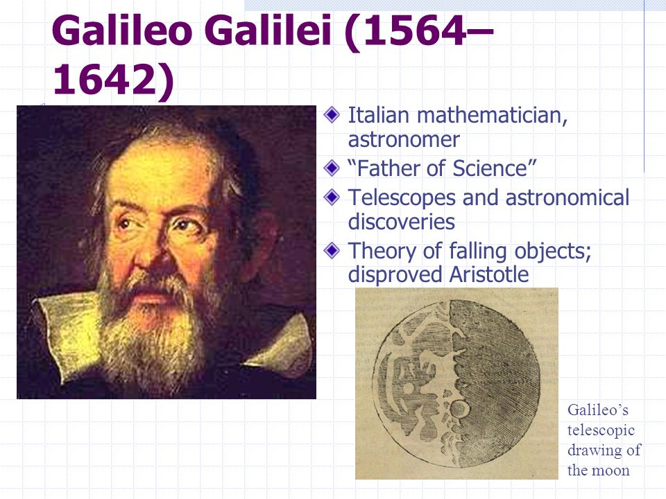 Galileo Galilei (1564–1642) Italian mathematician, astronomer