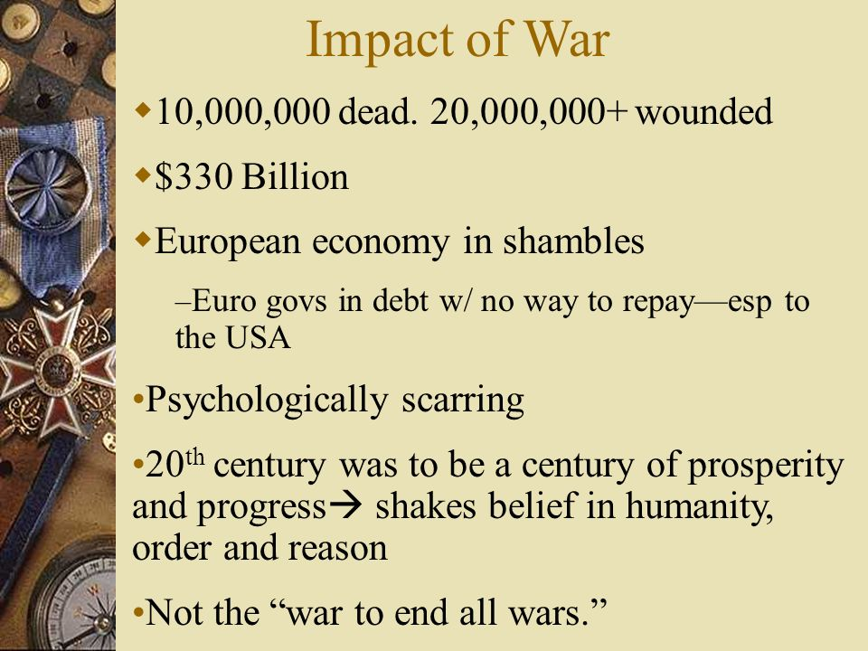 Impact of War 10,000,000 dead. 20,000,000+ wounded $330 Billion